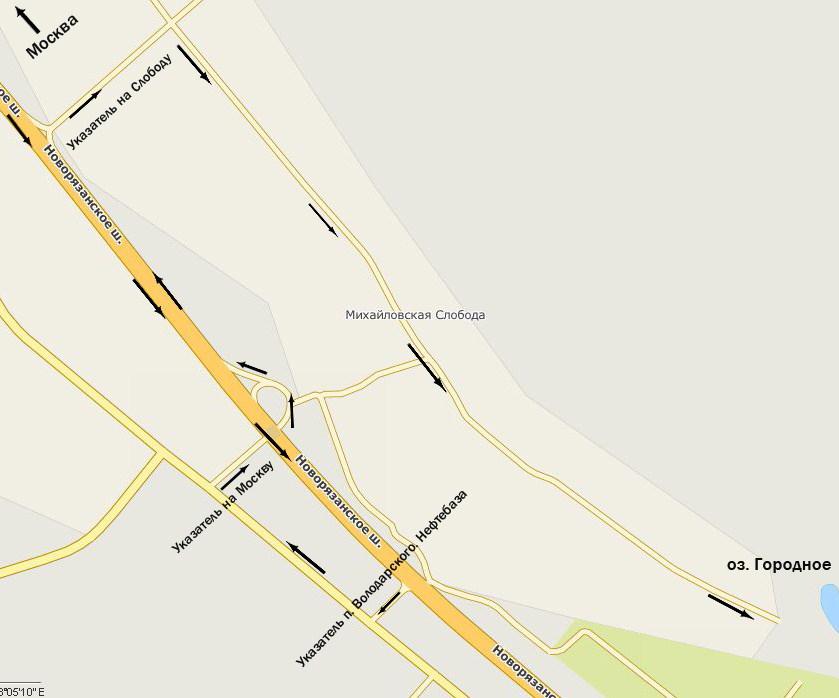 Через 100 м направо и далее по указателю...  Новорязанское направление, 25 км от МКАД.  Схема проезда.