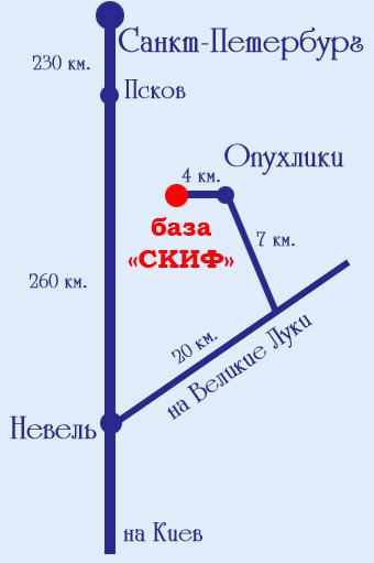Схема проезда из Санкт-Петербурга.